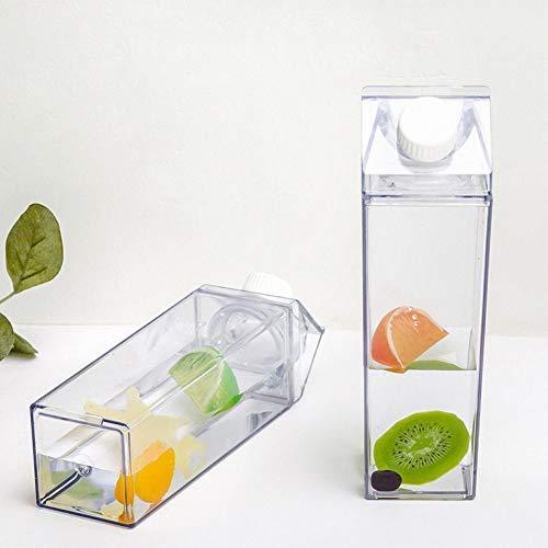 TIY Botella de agua de plástico transparente de cartón de leche, Botella de agua potable, reutilizable jugo transparente deportes a prueba de fugas, 500 ml,
