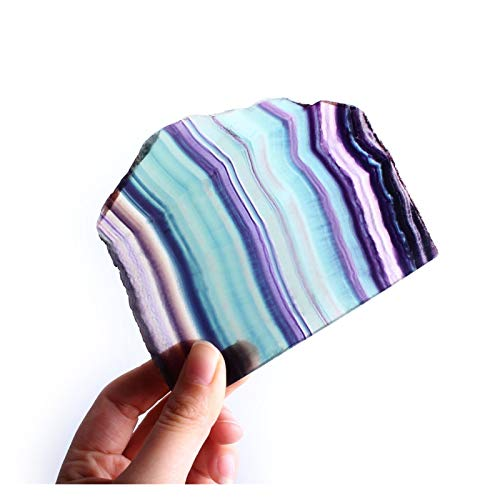 Elegant Solid 1PC Natural Rainbow Fluorite Slice Mineral Specimen Polished Colorful Stone Green Purple Reiki Healing Gift Home Decor