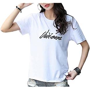 EKU FASHION EKU 婦人用半袖プリントカジュアルシャツの上の手紙 2 M