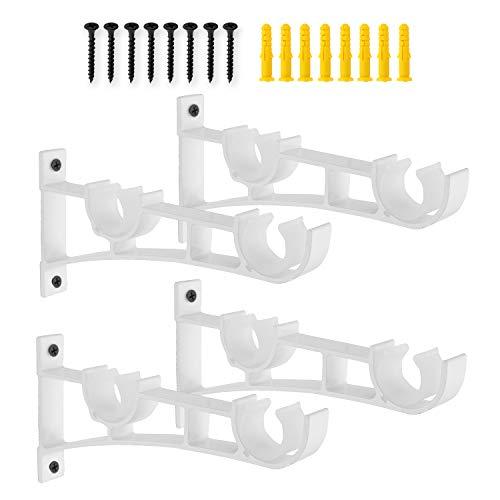 AddGrace Double Curtain Rod Brackets Set of 4 for Drapery Rod Window Hardware Rod Holders (White)