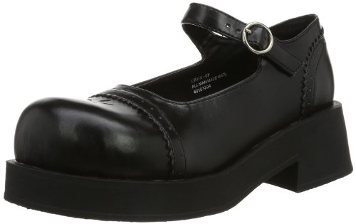 Demonia CRUX-07, Damen Mary Jane Halbschuhe, Schwarz (Blk Vegan Leather), EU 37 (UK 4) (US 7)