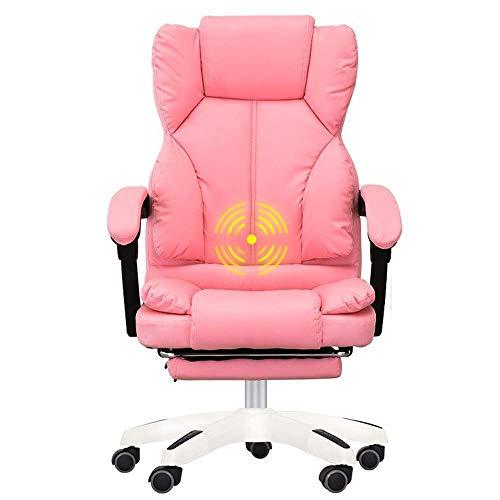 JIEER-C kamer Executive helling dubbele stoel, bureaustoel, bekleding, PU-leer, dikke rug, comfort, ultiem design, massagefunctie, draagvermogen 150 kg (kleur: bruin) Roze