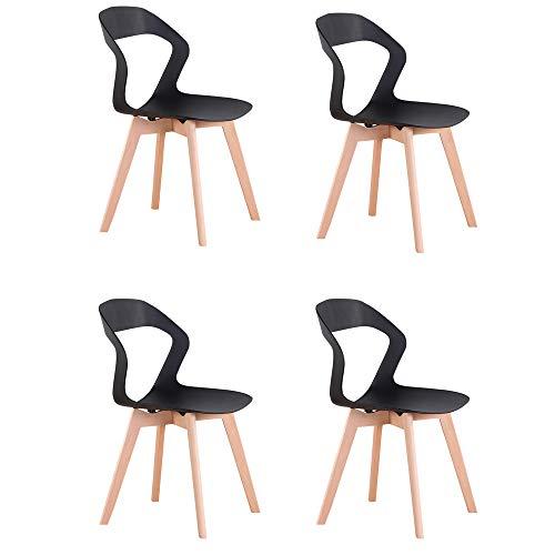 Naturelifestore Sedie Moderne della Sedia del Openwork dello Schienale Minimalista Moderno Nordico per la Sala da Pranzo, Salone,4PCS (Black)