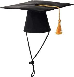 POPETPOP Dog Graduation Cap Doctor Hat Degree Headgear for DIY Dog Costume Pet Creative Party Accessories (Black)