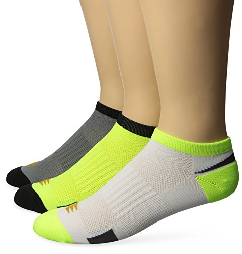 PowerSox mens Lightweight No Show With Mositure Control, 3 Pairs Socks, Yellow, Shoe Size 9-13 US
