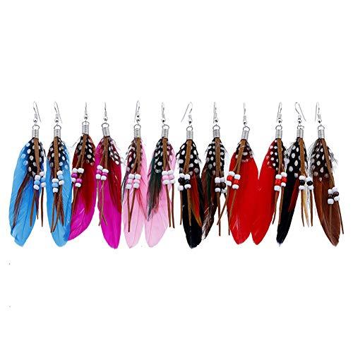 Zichen Lange Feder-Ohrringe BöHmische Art-Wulstige Troddel-Feder-Ohrringe Satz Von 6 Paare Weibliche Artificial-Feder-Ohrringe Mit Quasten