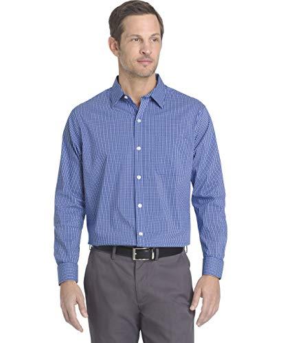 Van Heusen Men's Traveler Stretch Non Iron Long Sleeve Shirt, Blue Mazarine Check, 2X-Large