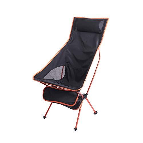 KKLL Sillón Acolchado Moon platillo Silla de Playa Plegable portátil con Respaldo Largo reclinable de Aluminio (Color : Orange)