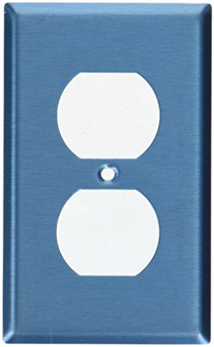 Leviton 84003–401-Gang placa de pared de dúplex dispositivo receptáculo, acero inoxidable