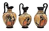 Juego de 3 jarrón de cerámica con figura negra griega Zeus Apollo Athena