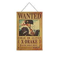 ワンピー-スアニメX DRAKE 木製のリストプラーク木の看板ぶら下げ木製絵画パーソナライズされた広告ヴィンテージウォールサイン装飾ポスターアートサイン