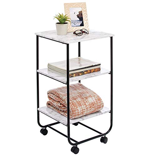 mobiletto bagno rotelle mDesign Tavolino con rotelle – Moderno carrello portaoggetti a 3 livelli – Pratico mobiletto con ruote per il bagno