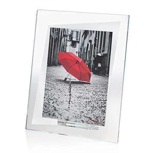 OMODOMO - Marco de cristal para fotos de 10 x 15 cm, hecho a mano en Italia. Portafotos de mesa, idea regalo para aniversario, boda, graduación, bodas de oro, confirmación. Modelo Quarter.