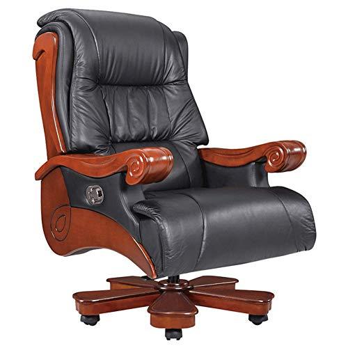 GY-C Massivholz-Leder-Chefsessel, drehbarer Sessellift-Chef-Stuhl, der bequeme Atmosphäre stützt Präsident Office Chair Recliner-Management-Stühle für Zuhause und Büro Komfortabel