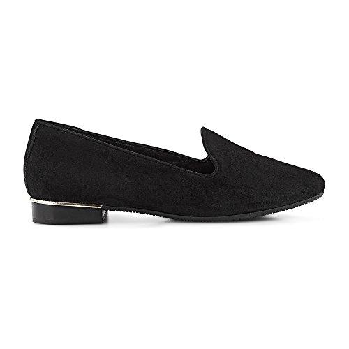 Cox Damen Trend-Slipper in Schwarz, klassischer Flat aus weichem Nubuk-Leder Schwarz Rauleder 41