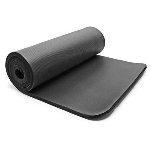 Wiltec Yogamatte schwarz 180x60x1.5cm Turnmatte Gymnastikmatte Bodenmatte Sportmatte rutschfest extradick