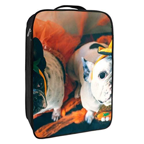Boîte de rangement pour chaussures de voyage et usage quotidien avec chiens en déguisement pour Halloween Sac à chaussures portable étanche jusqu'à 12 m avec double fermeture éclair et 4 poches