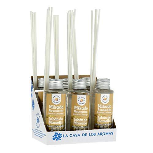 La Casa de los Aromas, Set de 6 x100ml Ambientadores Mikado Marsella para Reposición con Varillas, Difusor Líquido de Aroma Jabón de Marsella, Perfume Duradero para el Hogar, Baño, Casa