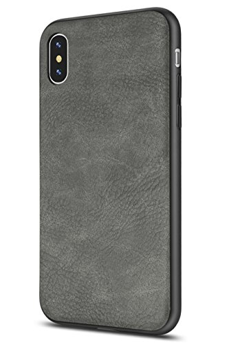 iPhone X Case/iPhone Xs Case Salawat Slim Shock Proof Phone Cover Lightweight Premium PU Leather TPU Bumper PC Protection for iPhone X iPhone Xs 5.8inch (Gray) -  GDRA-10