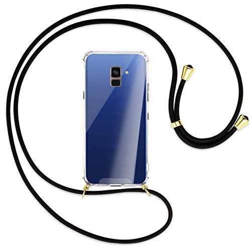mtb more energy® Handykette kompatibel mit Samsung Galaxy A8 2018 (SM-A530, 5.6'') - schwarz/Gold - Smartphone Hülle zum Umhängen - Anti Shock TPU Hülle