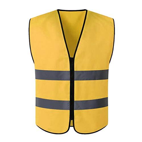 joyMerit Chaleco Reflectante de Seguridad de Visibilidad, Tira de Visibilidad, Hombres Y Mujeres, Trabajo, Ciclismo, Corredor, Topógrafo, Guardia de - Dorado, XL