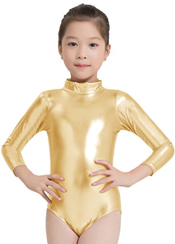 Speerise - Maillot de danza de manga larga para niñas con cuello de tortuga metálico brillante, Infantil, 77-C0333-Gold-4/6, dorado, 4