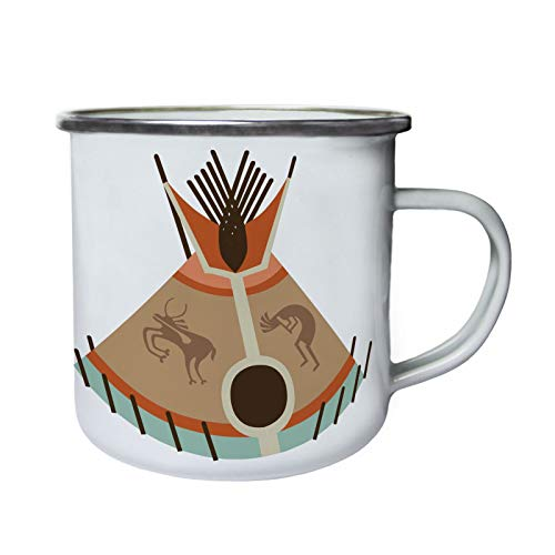 DKISEE Enamel Camping Mok Indian Tipi Tent 1 Drinkmokken voor thuis, kantoor, party, outdoor, mountaineering, 10oz