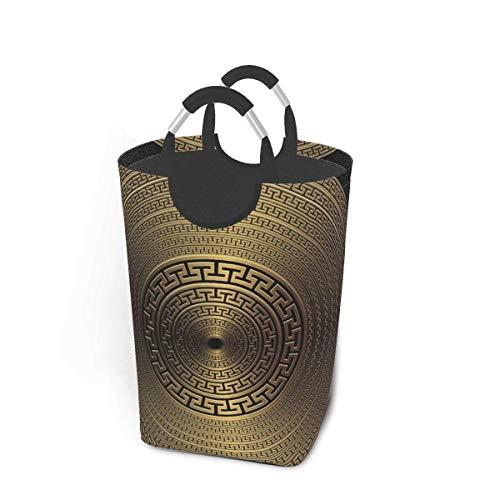 Cesto de colada plegable con asas para ropa sucia de color dorado 3D geométrico griego redondo 3D vintage grande con cola de pez de mar con asas impermeable y duradero, para el hogar y la universidad