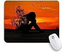 ECOMAOMI 可愛いマウスパッド 日没人間悲しい 滑り止めゴムバッキングマウスパッドノートブックコンピュータマウスマット