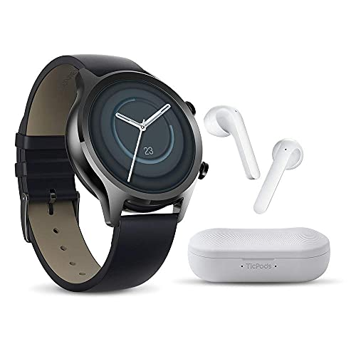 TicWatch C2 Plus and TicPods 2 Bundle, TicWatch C2 Plus GPS ip68 Waterproof NFC smartwatch for Men and TicPods 2 Wireless Earbuds