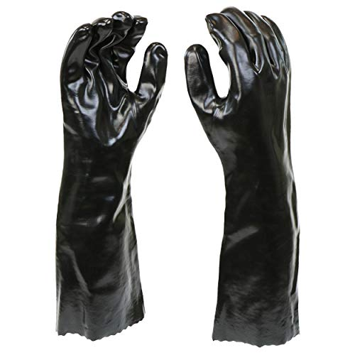 "West Chester 12018-L 12018 Chemical Resistant PVC Coated Work Gloves: 18"" Length, One Size Fits Most, 1 Pair, Black"