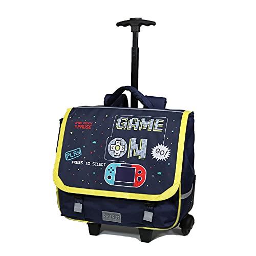 Cartella con rotelle da 38 cm Phileas Game / videogiochi blu marino – Il più comodo delle CARTABLES – Ergonomia/Confortevo/Sicurezza – Sistema Smart Comfort Bagtrotter