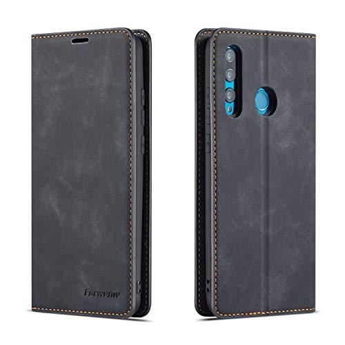 FMPC Hülle kompatibel mit Huawei P smart Plus 2019, Brieftasche Dünne Handyhülle PU Ledertasche Flip Schutzhülle Kartenfach Geld Slot Ständer - Schwarz