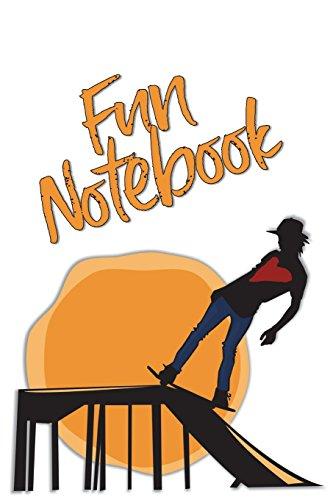 Fun Notebook: Boys Books - Mini Composition Notebook - Ages 6 -12 - Orange Skateboard Art