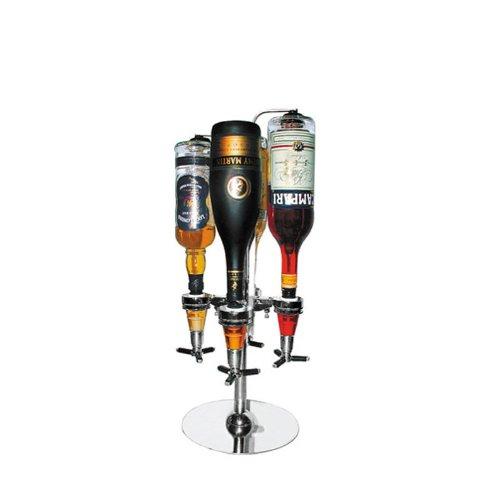 Mendler Bar Butler sterke drank dispenser, voor 4 flessen, chroom, roestvrij staal