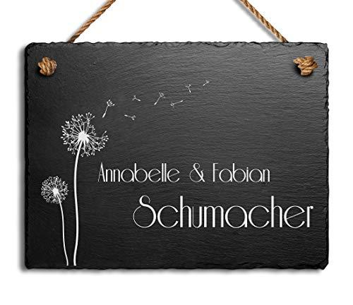 Schöne Schiefer Türschilder für die Haustür mit Gravur | Schiefer-Schild mit Kordel zum Aufhängen in versch. Größen Gravierte Namensschilder Klingelschilder mit Namen oder Texten Herzlich Willkommen