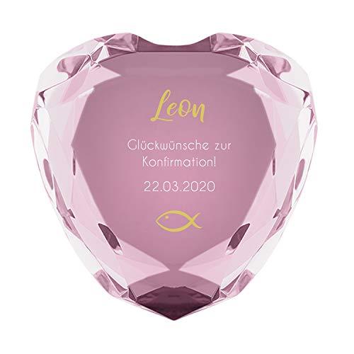 Herz Diamant zur Konfirmation (rosa) mit Name und Datum - personalisiertes Konfirmationsgeschenk, Kommunionsgeschenk, Geschenk für Mädchen + Jungs