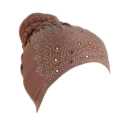 Damen Kopfbedeckungen Schlafmütze Chemo Hut Kopftuch Bonnet Hijab Bandana Weich Beanie Brötchengeflecht Turban Kopf Wraps Headwear Skull Cap für Krebs, Chemo, Haarausfall, Chemotherapie Kaffee