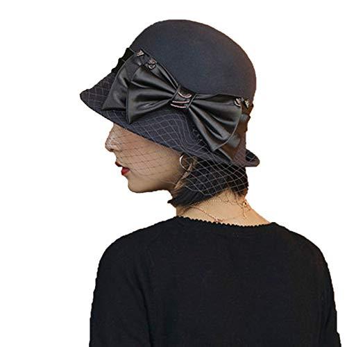 YTO Sombrero Mujeres otoño e Invierno, un centenar de Arco literario inglés Sombrero de Lana Retro, Sombrero de Pescador de Malla