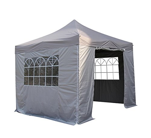 All Seasons Gazebos 3x3m Waterproof Pop Up Gazebo - Metallic Grey (Standard Sides)