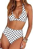 Voqeen Traje de Baño Bikini Floral Mujer Bikinis Sujetador Push-up Sexy Traje de Baño de Dos Piezas BañAdores Tops y Braguitas Ropa de Playa (Blanco y Punto Negro, XL)
