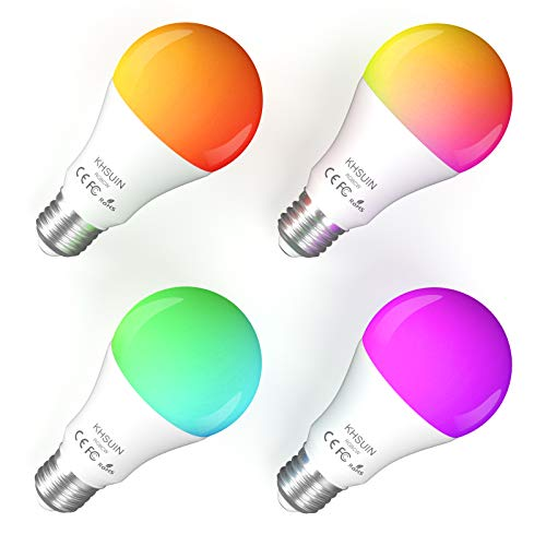Smart Light Bulbs, KHSUIN Smart Bulbs Work with Alexa/Google Home Assistant/Phone, Dimmable Multicolor LED RGBCW WiFi Bulbs (No hub Need), E26 Base, 800lm, 7W (80w Equivalent) 4 Pack