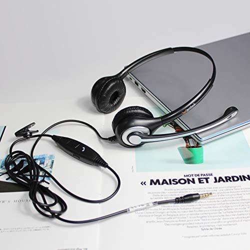 Headset Handy mit Mikrofon Noise Cancelling & Lautstärkeregler, PC Kopfhörer 3,5mm Klinke für iPhone Samsung Computer Business Skype SoftPhone Call Center Office, Klar Chat, Ultra Komfort