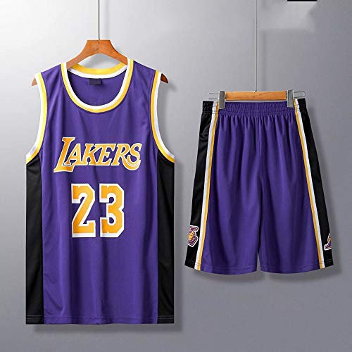 HS-XP Niños Adultos Baloncesto NBA Los Angeles Lakers # 23 Lebron James Tank Top Y Shorts Set Sweatshirt Camiseta Suelta Baloncesto Jerseys,Púrpura,XL(Child) 145~155CM