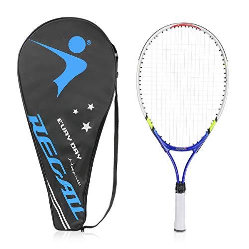 Achort Raqueta de Tenis para niños y jóvenes, Junior Raqueta de Tenis Moldura de Una Pieza con Bolsa de Transporte para niños Unisex, Azul