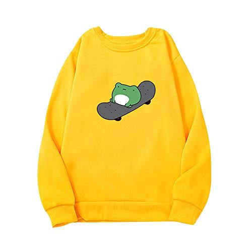 QI_LIANG Frosch Hoodie Süße Tops Damen Stitching Pocket Pullover Sweatshirt