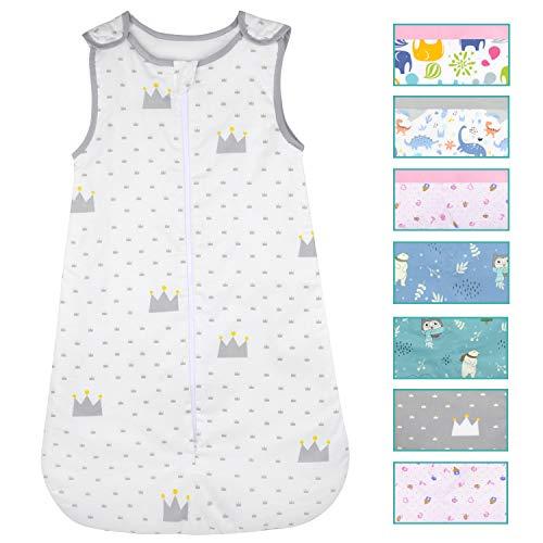 Viedouce Baby Schlafsäcke,Schlafsack Baby Bio-Baumwolle, Waschbar Kleinkindschlafsack, Ganzjahres Babyschlafsack 2,5 TOG,Größe 80cm für Neugeborene 3-18 Monate