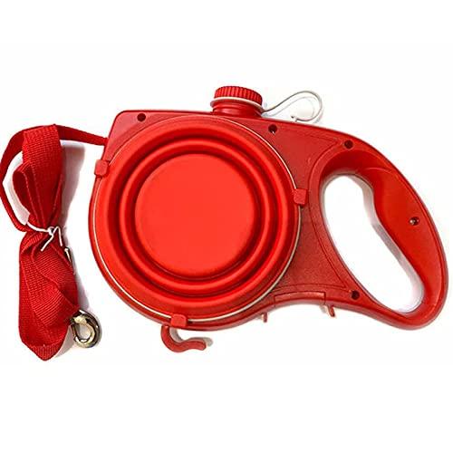 GUOL Correa Perro Extensible Flexi,Correa Perro Adiestramiento Multiposicion,Correa Multifuncional para Perros 5 En 1 con Botella De Agua, Cuerda De TraccióN Rojo