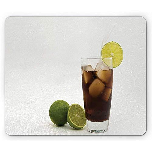 Alfombrilla Cubana, Pintoresca de Ron y Cola como un Famoso Cóctel Alfombrilla de Bebida Alcohólica, Blanco, Multicolor