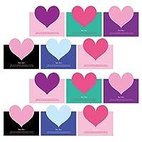 NUOBESTY 50個バレンタインデーカード3dハート形グリーティングカードクリエイティブハート招待カードバレンタイン日グリーティングカード